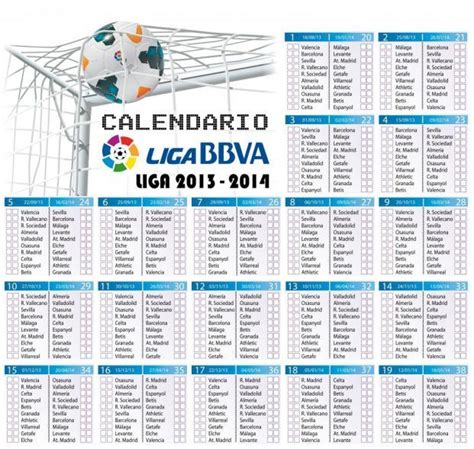 Calendario Dela Liga Española De Fútbol 2016 Calendario Liga Bbva Espa 241 Ola Todas Las Jornadas