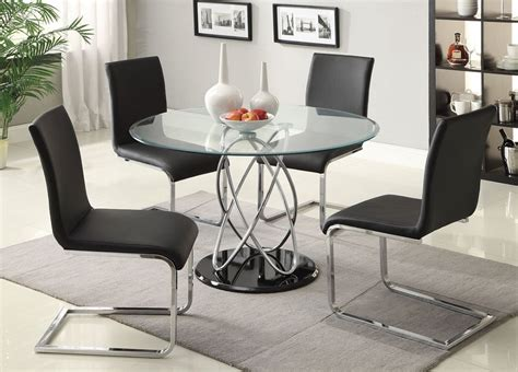 white esszimmertisch sets 5pc aina modern black and chrome glass top dining table set
