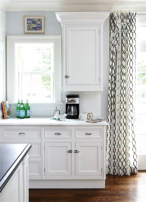 geometric curtains transitional kitchen interiors