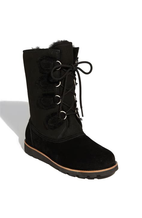 ugg black boots ugg black suede and shearling lace up boot in black lyst