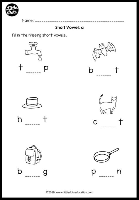 download worksheets and activities on short vowels a e i