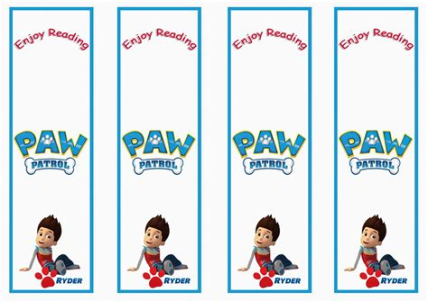 printable name bookmarks paw patrol birthday printable