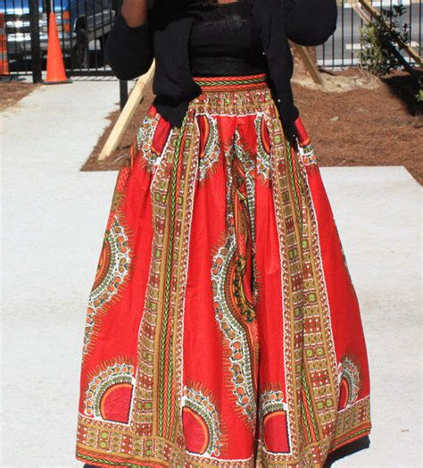 Mossy Oak Bedroom bright red african dashiki maxi skirt from