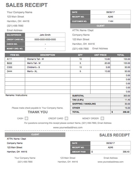 templates for a receipt 13 free business receipt templates smartsheet