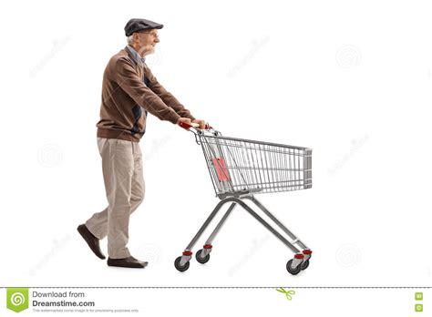 Is Pushing by Elderly Pushing A Shopping Cart Stock Photo Image