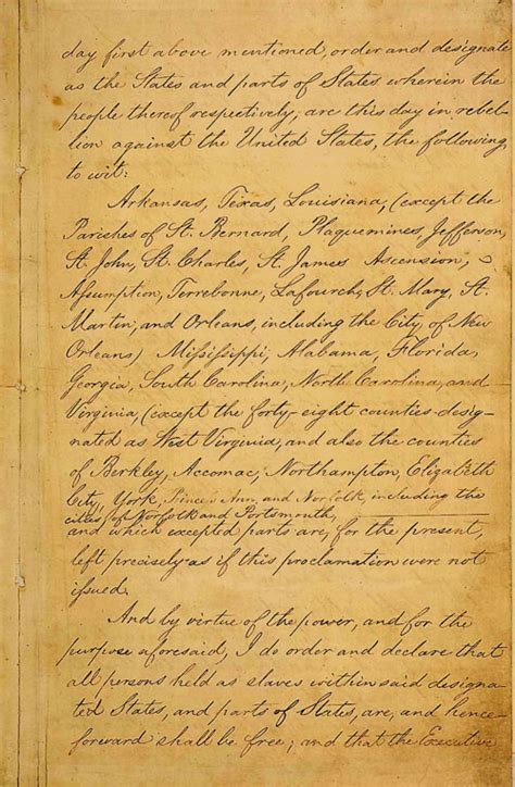 Originals Emancipation Proclamation Actual Document