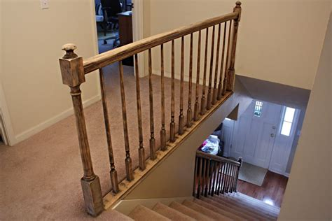 Restaining Banister Rail by How To Paint Stairway Railings Bower Power