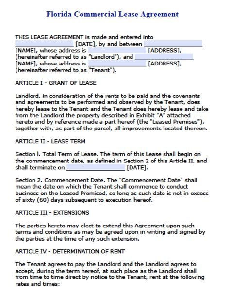 Free Florida Commercial Lease Agreement Pdf Word Doc Florida Employment Contract Template