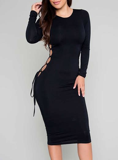 Sleeve Lace Up Midi Dress midi bodycon dress classic black cutout sleeve