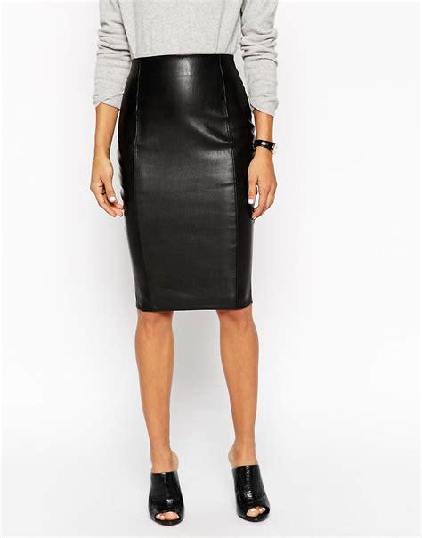 asos asos pencil skirt in leather look