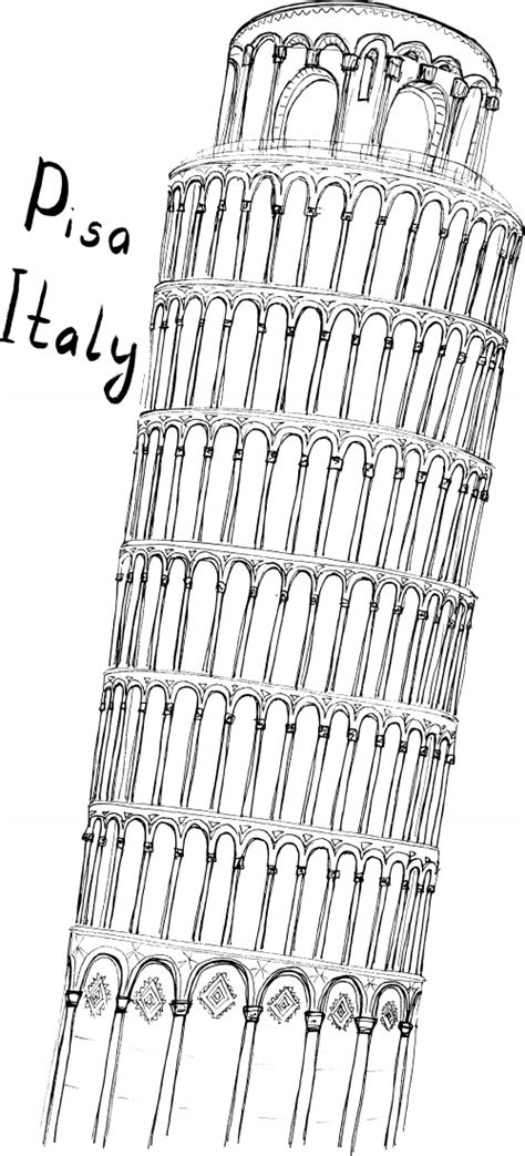 Pisa Coloring Page Kidspressmagazine Com Leaning Tower Of Pisa Coloring Page