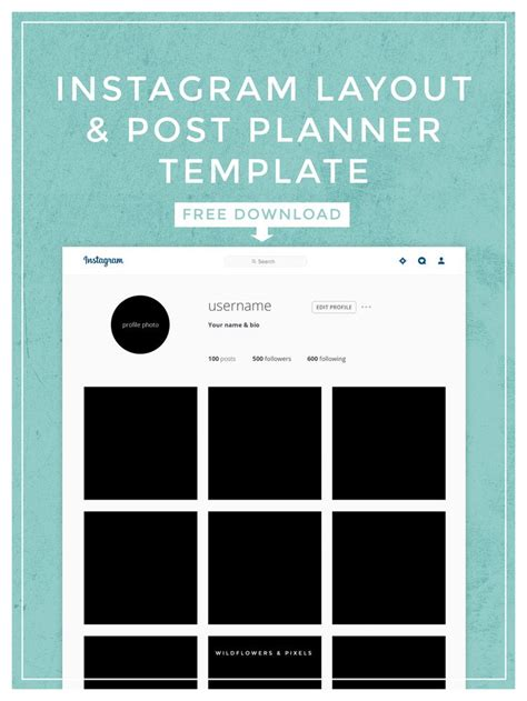 pinterest layout psd instagram layout post planner template free psd
