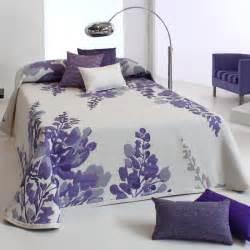 couvre lit 280x270 cm tiss 233 jacquard lilac parme pour lit