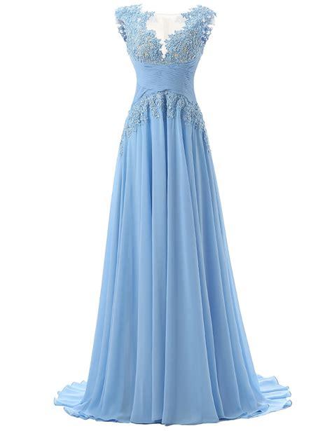 light blue chiffon dress fashion scoop appliques a line chiffon light blue prom