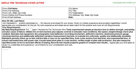 Tire Mechanic Cover Letter by Tire Technician Cover Letter Sle Cover Letters Templates