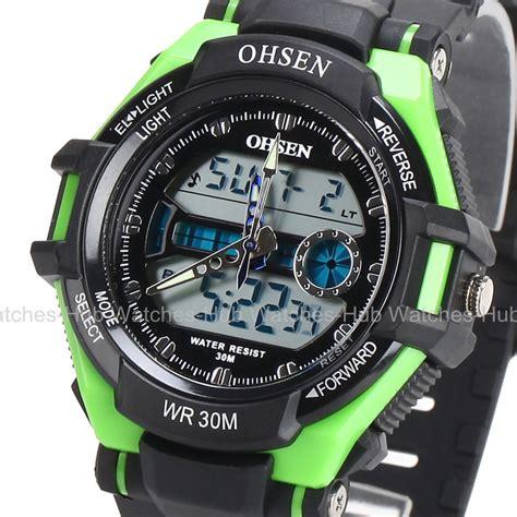 ohsen fashion waterproof digital lcd alarm date mens