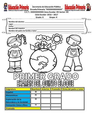 examen de quinto de primaria tercer bloque examen del primer grado del quinto bloque ciclo escolar