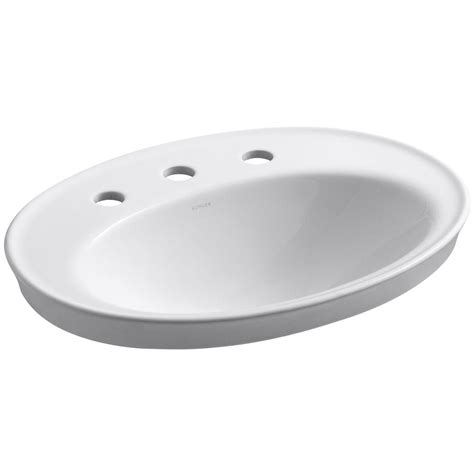 kohler bathroom sink drain kohler serif ceramic drop in bathroom sink in white with