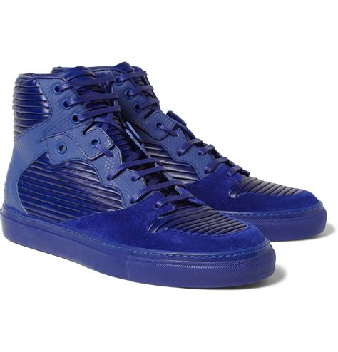 blue and sneakers balenciaga paneled leather and suede high top sneakers in