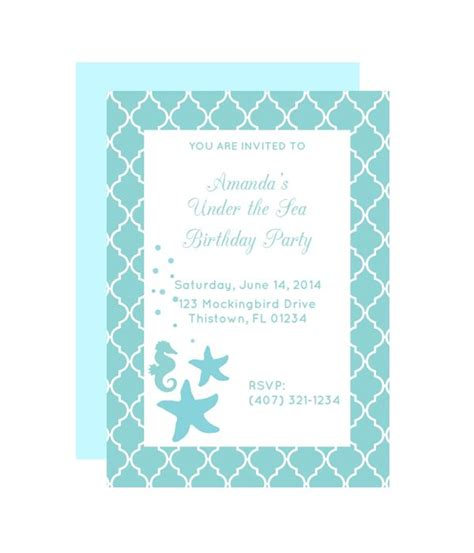 free printable under the sea party invitation from