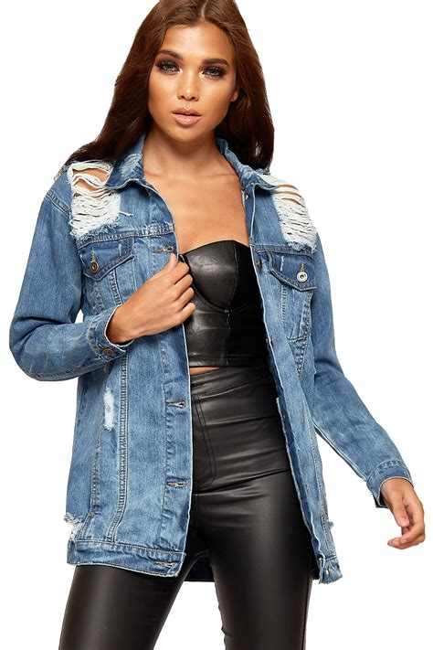 New Oversize Jacket womens distressed oversized denim jacket