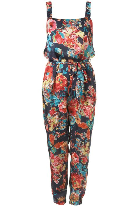 flower design jumpsuit topshop butterfly floral jumpsuit in multicolor multi lyst