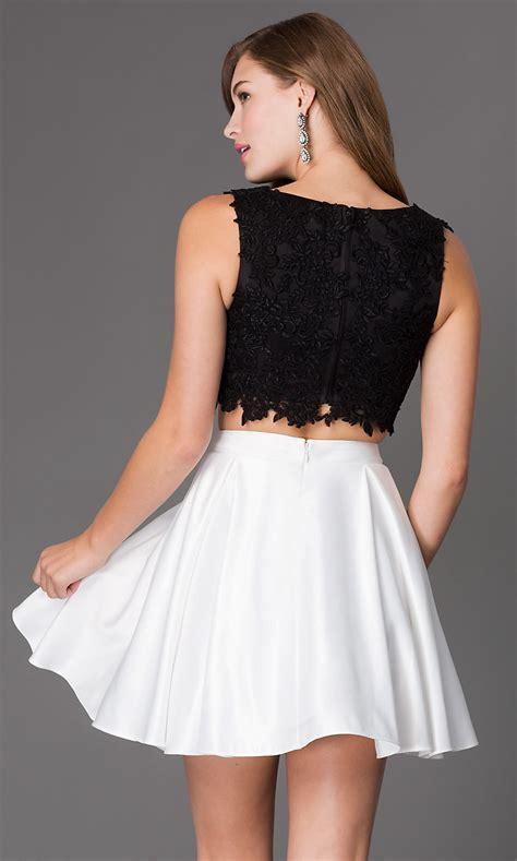 short  piece lace bodice dress promgirl