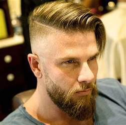 side part undercut hairstyle side part with beard disconnected undercuts pinterest