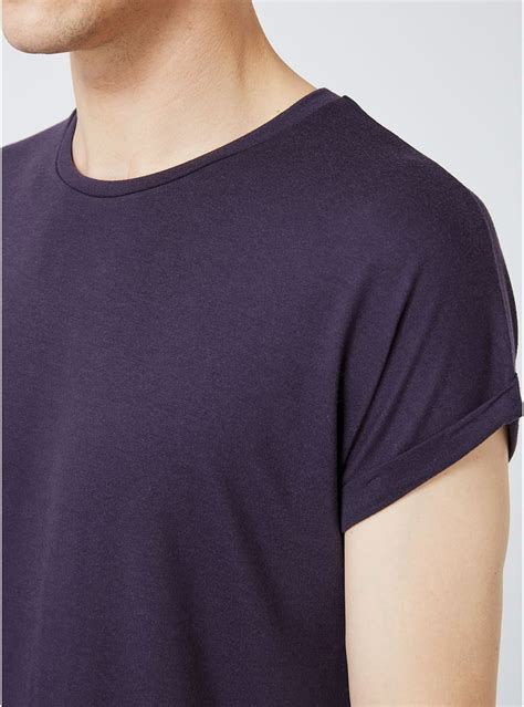 Drop Shoulder Shirt purple drop shoulder longline t shirt topman