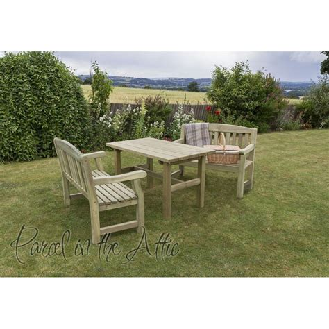 Elda Solidwood Outdoor Furniture Dining Set  Table & 2