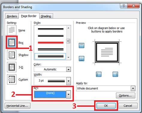 membuat border atau bingkai halaman di word 2010 cara membuat bingkai atau page border di office word 2010