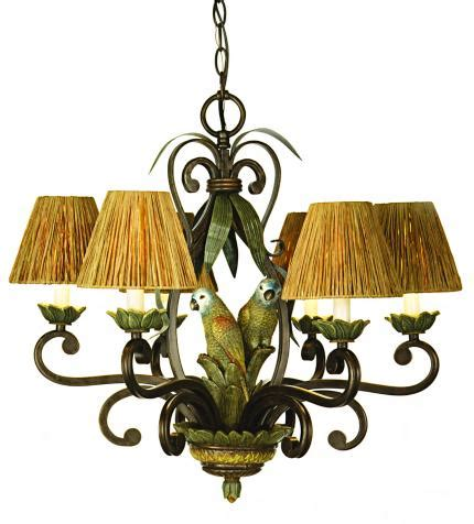 Tropical Chandelier Bn 24 Quot W Raffia Shades And Parrots Tropical Chandelier Ebay