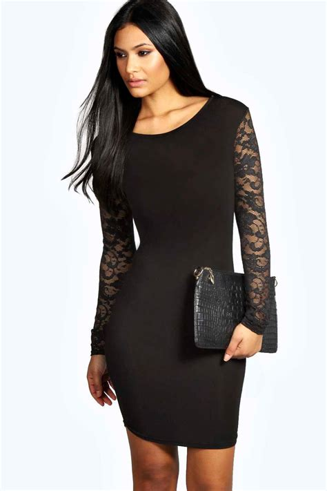 Sleeve Lace Dress susie lace sleeve bodycon dress at boohoo