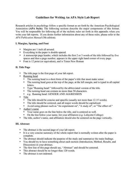 Lab Report Writing Guide Psychology by Writing A Lab Report In Apa Format Literature Term Paper Outline Essay