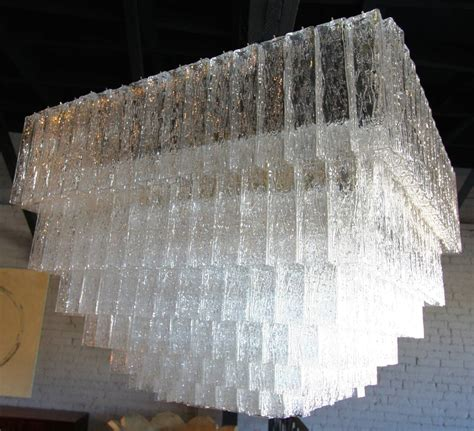 Large Square Chandelier Large Square 1960s Murano Glass Vistosi Chandelier For