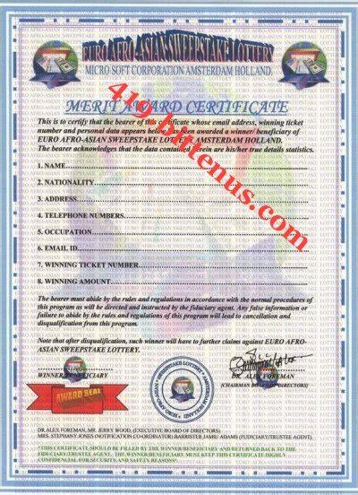 International Sweepstake Lottery - euro afro asian lottery winning certificates 419 fraud