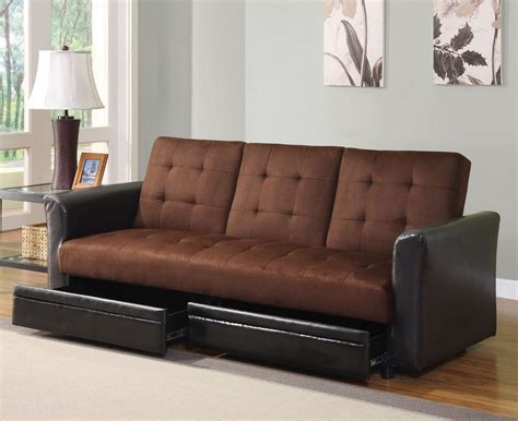 Futon Bed With Drawers chocolate microfiber adjustable sofa bed futon with