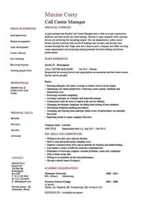 call center manager resume description exle