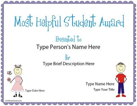 best student certificate template education certificate most helpful student award