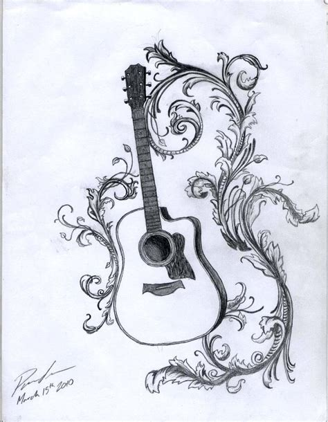 acoustic guitar tattoo designs acoustic with filigree by kristhesith on deviantart