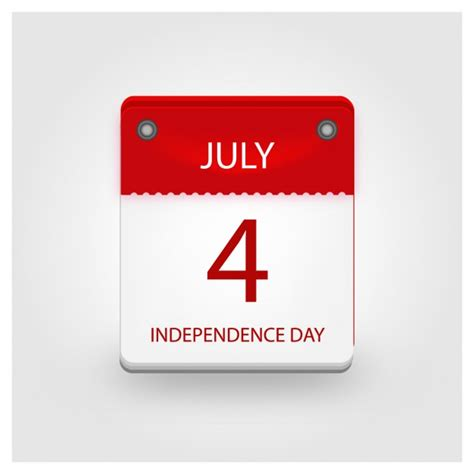 Day Calendar Independence Day Calendar Vector Free