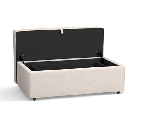 Buchanan Upholstered Cocktail Storage Ottoman Pottery Barn Storage Cocktail Ottoman