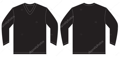 black sleeve shirt template black sleeve v neck shirt design template stock