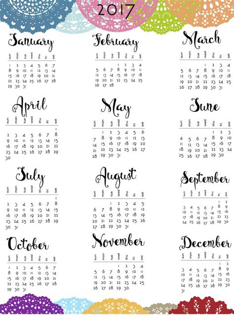 2017 Calendar Printable Best 25 Printable Calendars Ideas On 2017