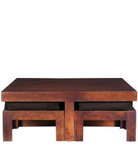 Wooden Square Coffee Table With Four Stools by Wooden Square Coffee Table With Four Stools In Light Honey