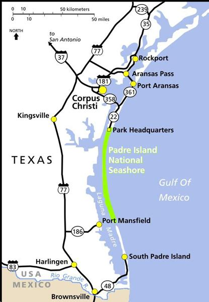 map of san padre island maps padre island national seashore u s national park