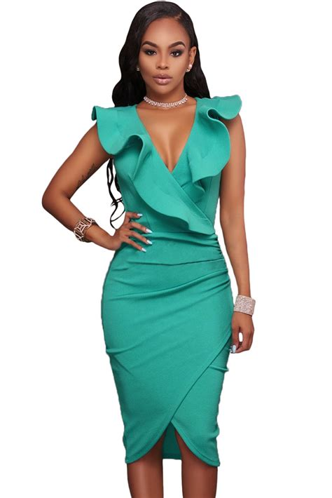 Dress Midi Mini Gaun Spandek Set Cardigan Polos Resmi Formal Kerja us 8 17 turquoise ruffle v neck bodycon midi dress dropshipping