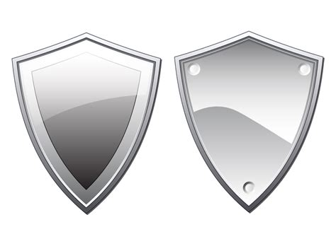 two silver shield illustrations in vector format