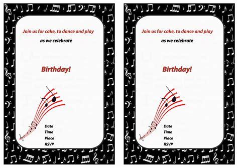 printable birthday invitations music theme music birthday invitations birthday printable