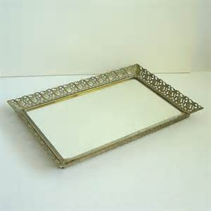 vintage vanity mirror tray rectangular scrolled by